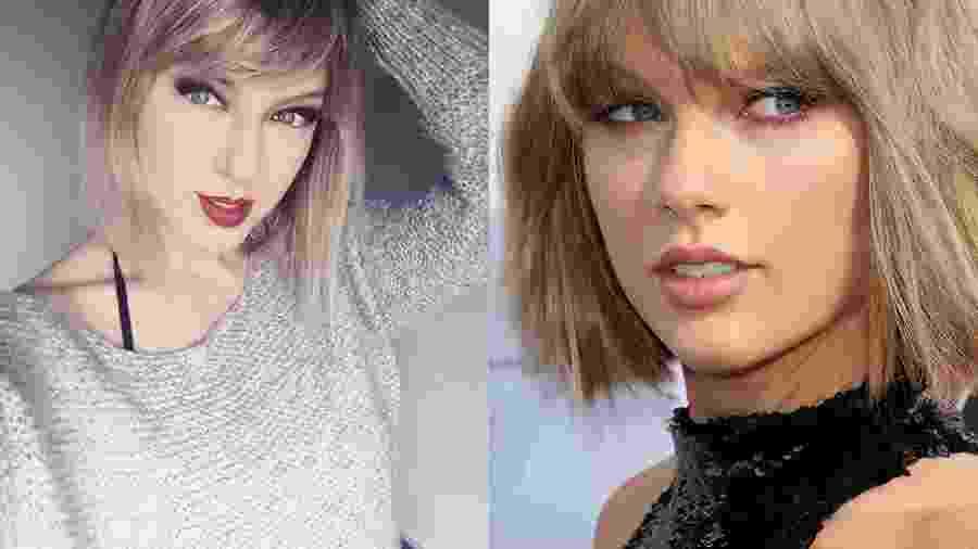 Qual das duas é Taylor Swift? À esq., April Gloria e, à dir., a cantora pop - Reprodução/Instagram/Getty Images