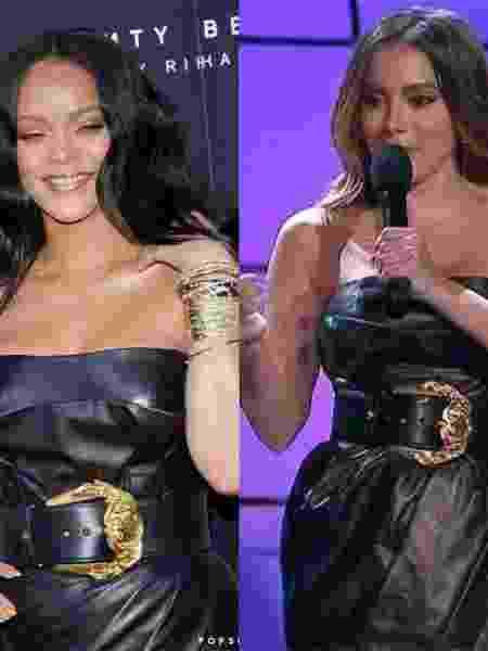 Rihanna com um Versace de couro que Anitta também usou em Prêmio Multishow - Colagem/UOL