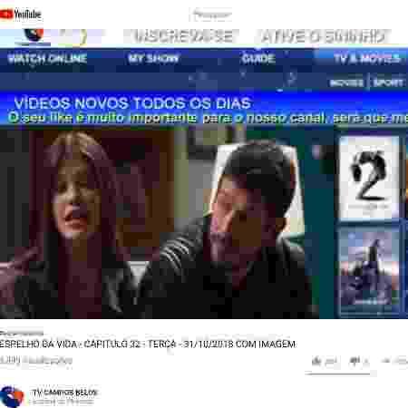 """Canal TV Campos Belos publica capítulos de """"Espelho da Vida"""" e outras novelas da Globo - Reprodução/YouTube - Reprodução/YouTube"""