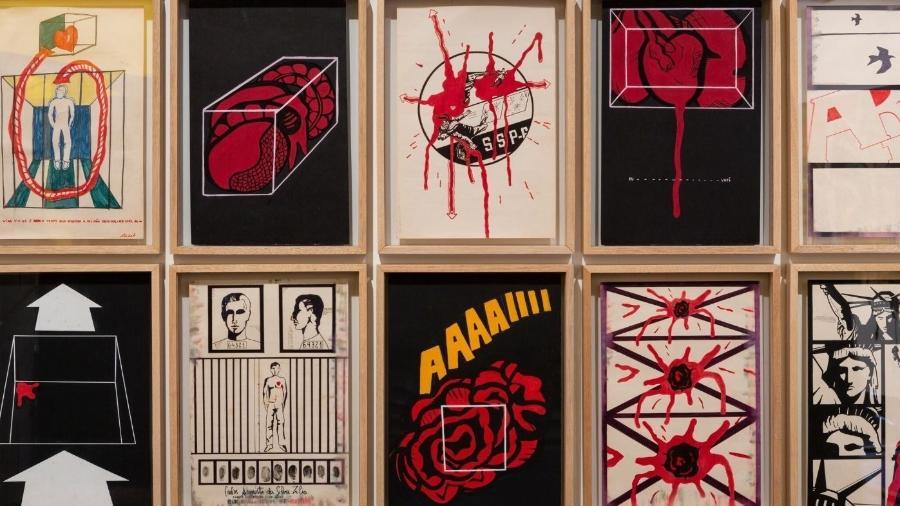No início dos anos 1970, Carlos Zílio foi preso pelo regime militar e executou essa série de desenhos no cárcere. Eles foram expostos ao público pela primeira vez em 1996  - Ricardo Miyada