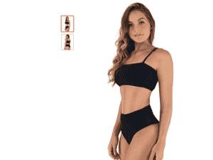 Biquini MVB Modas Top Faixa Hot Pants Cintura Alta - Divulgação - Divulgação