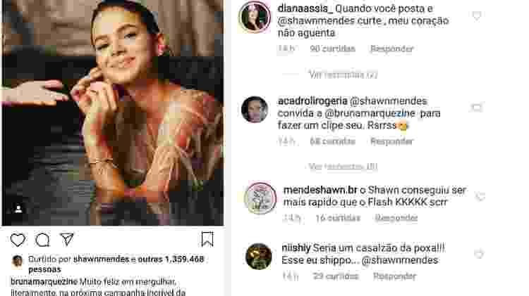 """A """"curtida"""" de Shawn Mendes na foto de Bruna Marquezine deixou os fãs empolgados - Reprodução/Instagram - Reprodução/Instagram"""
