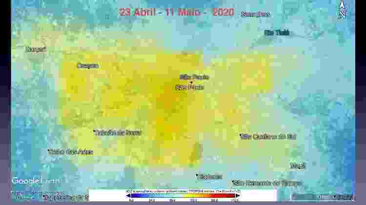 Imagens de satélite mostram índice de dióxido de nitrogênio na região Metropolitana de São Paulo - Reprodução/Eduardo Landulfo - Reprodução/Eduardo Landulfo