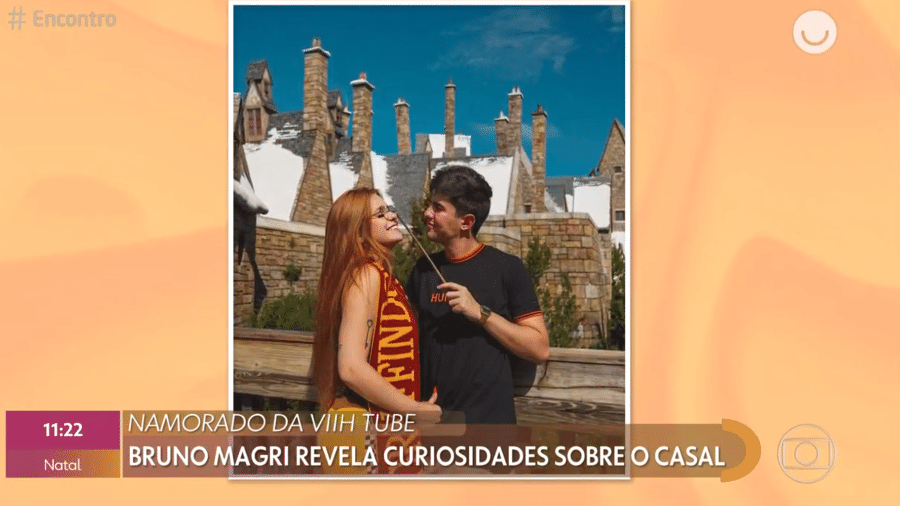 Bruno Magri e Viih Tube em foto da viagem dos dois a Orlando (EUA) - Reprodução/Globoplay