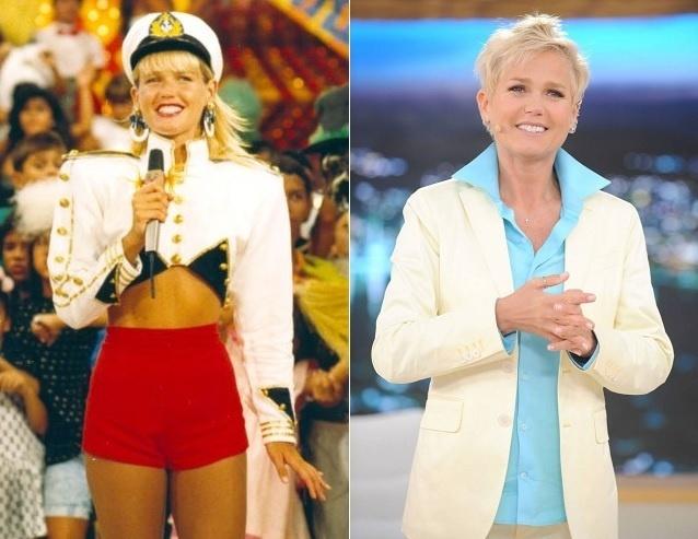 Xuxa extravagante nos anos 80, na Globo (à esquerda), e sóbria em 2016, na Record
