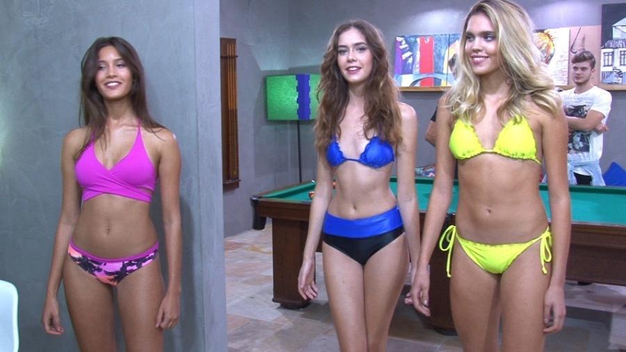 Alissa, Júlia e Lívia usam biquínis da estilista Júlia Pereira - Divulgação