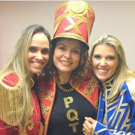 Bárbara Borges com as ex-paquitas Priscila Couto e Roberta Cipriani - Reprodução/Instagram