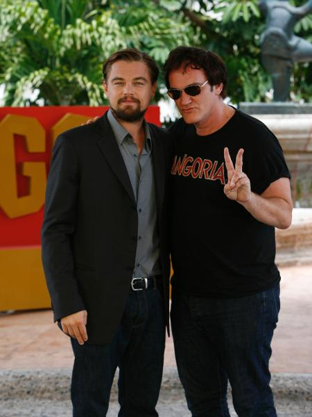 """Leonardo DiCaprio e Quentin Tarantino divulgam """"Django Livre"""" em Cancún, no México, em 2012 - Matt Dames/Sony via Getty Images"""
