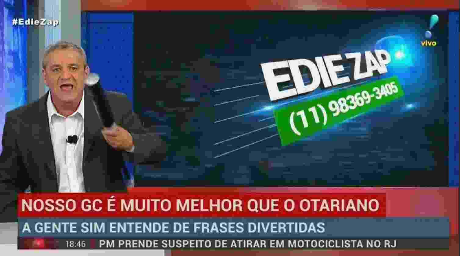 """Os GCs do """"Denúncia Urgente"""" são exibidos enquanto uma informação policial é comentada pelo apresentador - Reprodução/RedeTV!"""