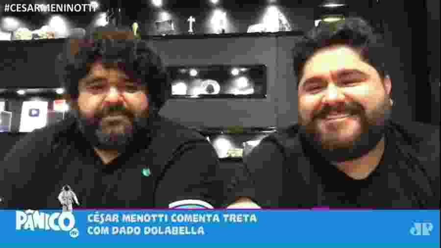 A dupla sertaneja CésarMenotti e Fabiano em participação no Programa Pânico, da Rádio Jovem Pan - Reprodução