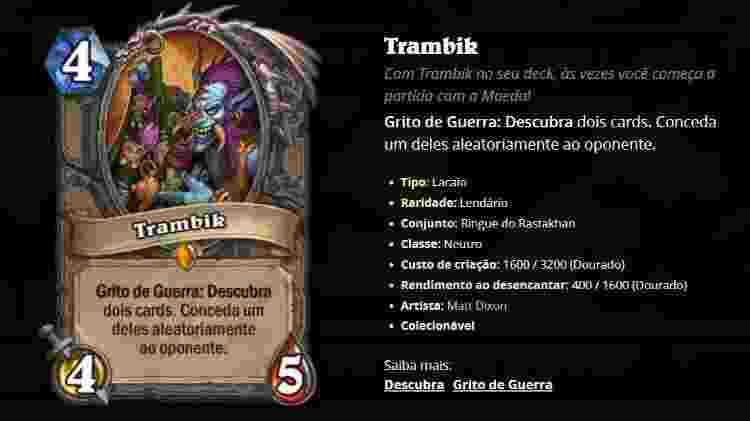 Trambik Hearthstone - Reprodução/Blizzard - Reprodução/Blizzard