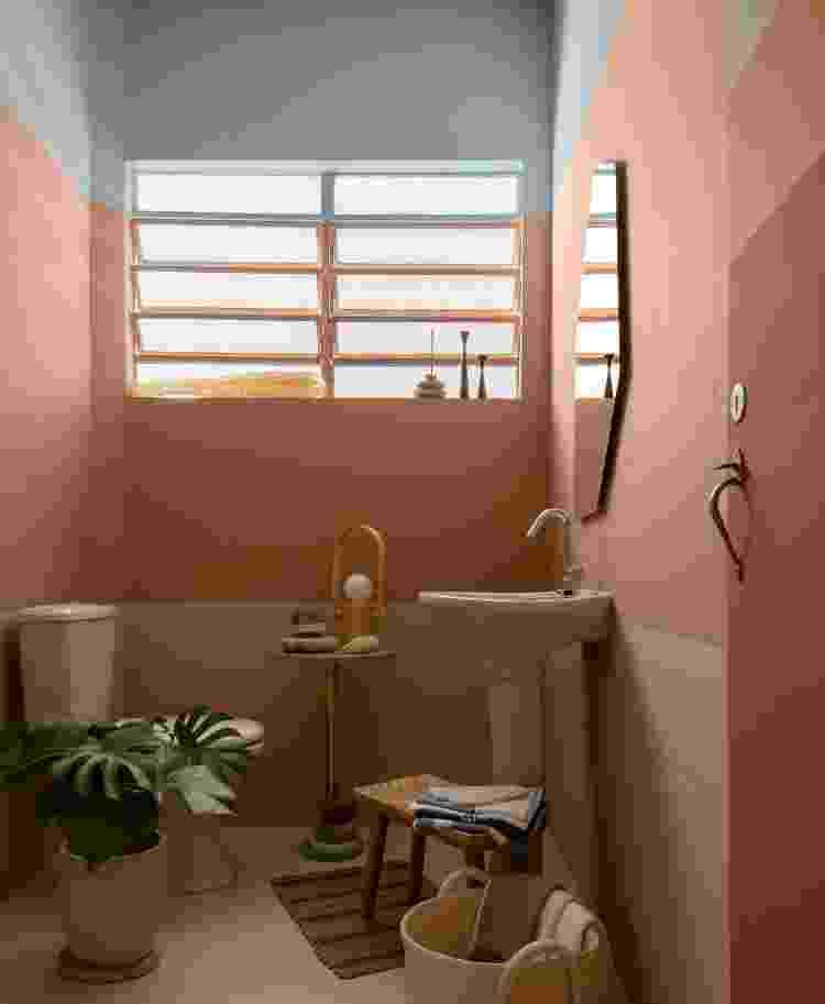 Banheiro mistura tons terross com azul, rosa e o verde da planta como decoração - Divulgação - Divulgação