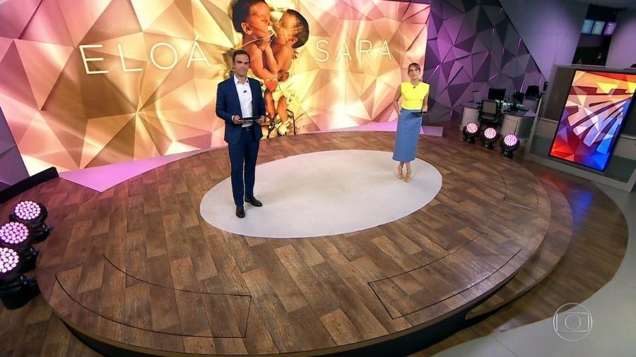 """Tadeu Schmidt e Poliana Abritta apresentando o """"Fantástico"""" de hoje - Reprodução/TV Globo"""