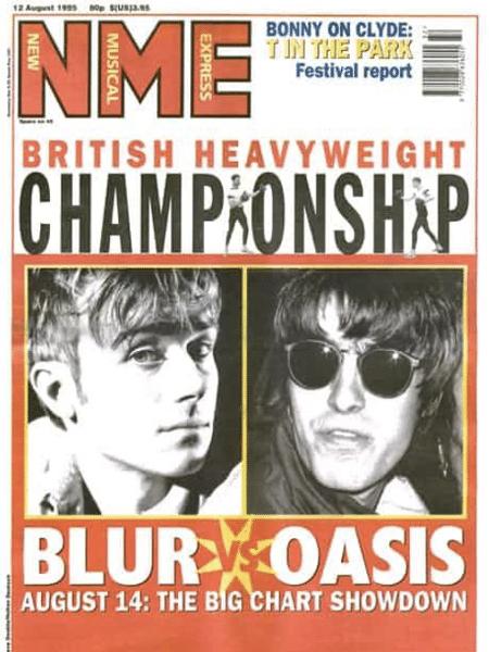 Reprodução da capa da revista NME de agosto de 1995 que retrata a batalha entre Blur e Oasis - Reprodução / Twitter