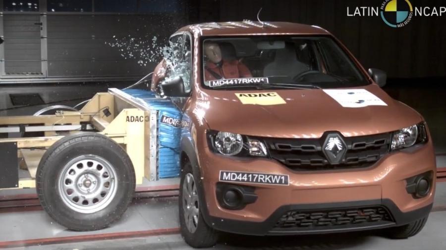 Renault Kwid recebeu três estrelas tanto para segurança de adultos, quanto de crianças - Reprodução/Latin NCAP