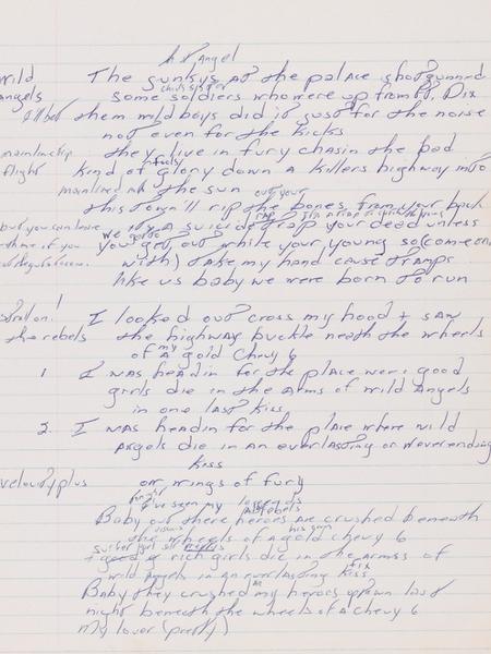 """Manuscrito de """"Born to Run"""", do cantor Bruce Springsteen - Sotheby""""s"""
