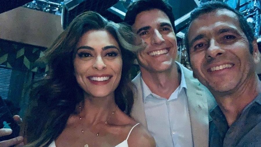 Juliana Paes, Reynaldo Gianecchini e Marcos Palmeira, em bastidores de A Dona do Pedaço - Reprodução/ Instagram