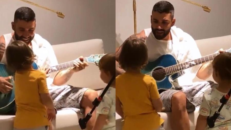 Gusttavo Lima com os filhos, Gabriel e Samuel - Reprodução/ Instagram