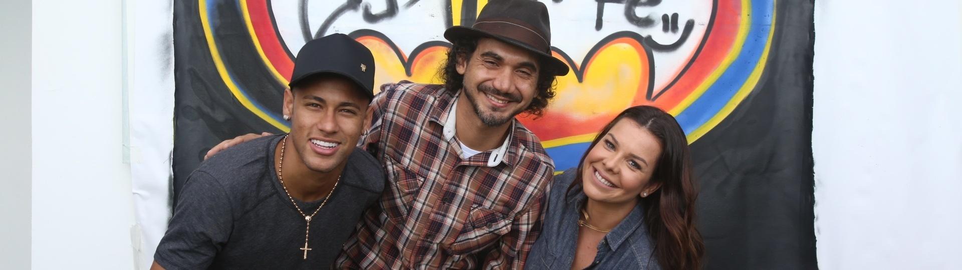Neymar, Kobra e Fernanda Souza nas gravações do programa da atriz no Multishow