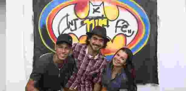 Neymar, Kobra e Fernanda Souza nas gravações do programa da atriz - Gabriel Mendes/Multishow/Divulgação