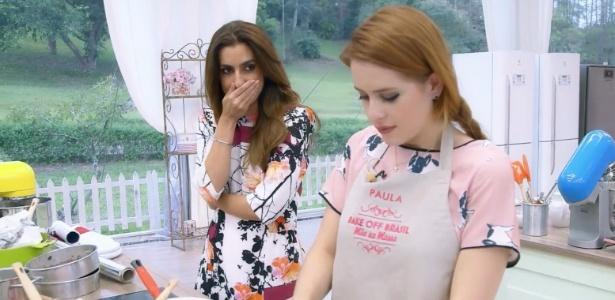 """Paula, do """"Bake Off Brasil"""", não gosta de brincadeira de Ticiana Vilas Boas no Bake Off Brasil - Gabriel Gabe/SBT"""