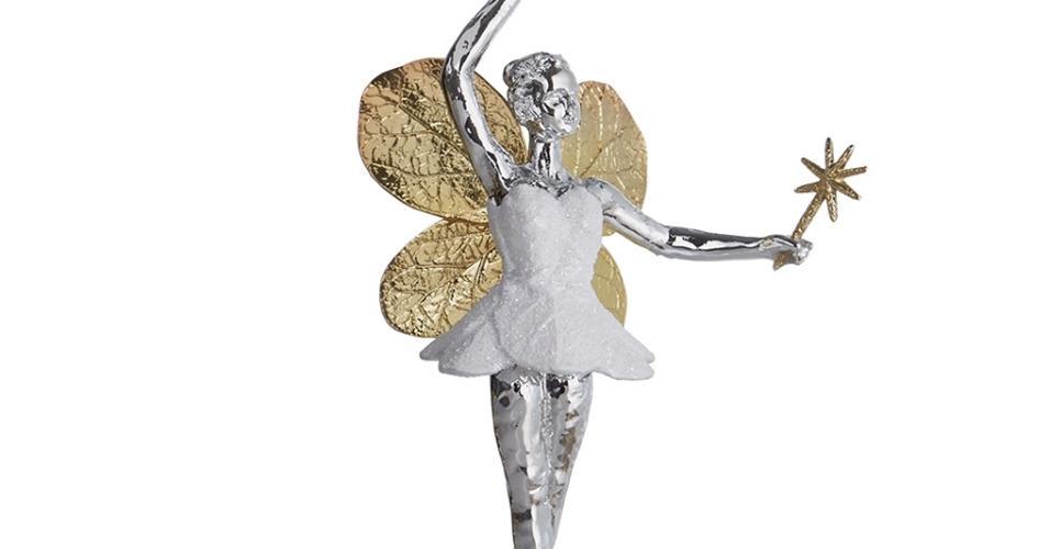 Já pensou em ter uma fada protetora das florestas na sua árvore? A escultura metálica foi idealizada por Michel Aram (www.michelaram.com), designer de joias e acessórios com peças vendidas em várias lojas chiques dos EUA. O bibelô mede 14 cm de altura e custa US$ 70 ou R$ 236,10 (cotação do dia 9.12.2016)