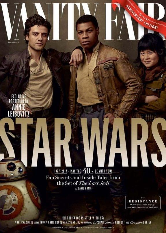 A Resistência: Poe Dameron (Oscar Isaac), Finn (John Boyega) e Rose Tico (Kelly Marie Tran) e o adorável BB-8