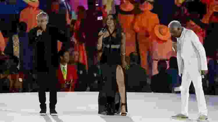 Na abertura dos Jogos Olímpicos do Rio, um dos eventos mais vistos no mundo, Anitta cantou ao lado de Gilberto Gil e Caetano Veloso - Reuters - Reuters