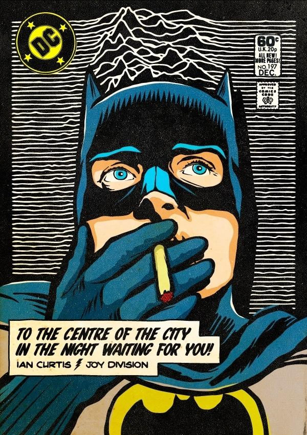 Em uma característica marcante de Butcher, as misturas, ele colocou Batman e a banda Joy Division juntos