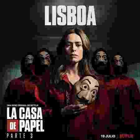 Lisboa, a ex-inspetora Raquel, em pôster da parte 3 de La Casa de Papel - Divulgação - Divulgação