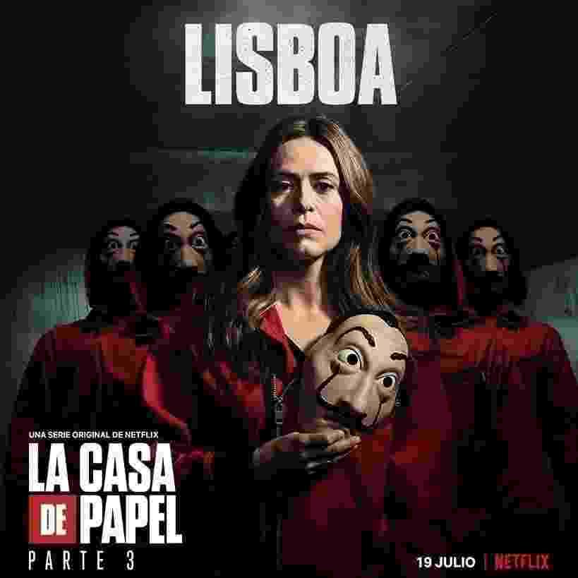 Lisboa (ex-inspetora Raquel), personagem de Itziar Ituño, em pôster da parte 3 de La Casa de Papel - Divulgação