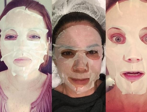 Kelly Osbourne (à esq.), Lindsay Lohan, Luciana Gimenez e Diana Kruger são adeptas da praticidade da máscara descartável - Reprodução/Instagram