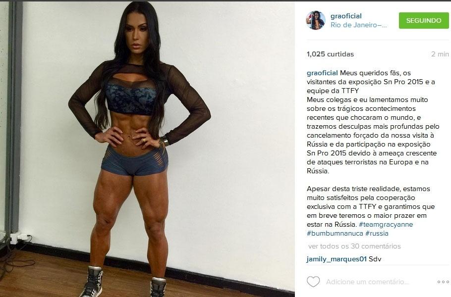 Gracyanne Barbosa cancela participação em evento fitness na Rússia por conta de ameaça de ataques terroristas