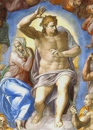 Detalhe do afresco Juízo Final, feito por Michelangelo na Capela Sistina