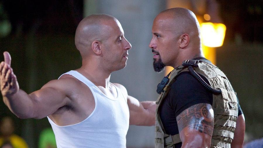 Os atores  Vin Diesel e Dwayne Johnson  - Divulgação