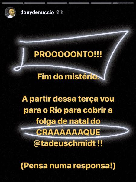 """Dony de Nuccio anuncia que apresentará o """"Fantástico"""" - Reprodução/Instagram"""