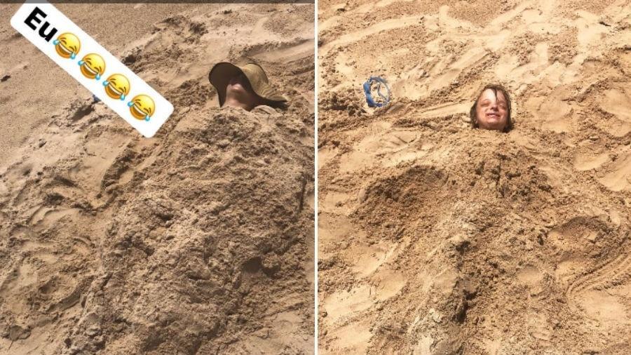 Ticiane Pinheiro e a filha, Rafinha Justus, enterradas na areia - Reprodução/Instagram