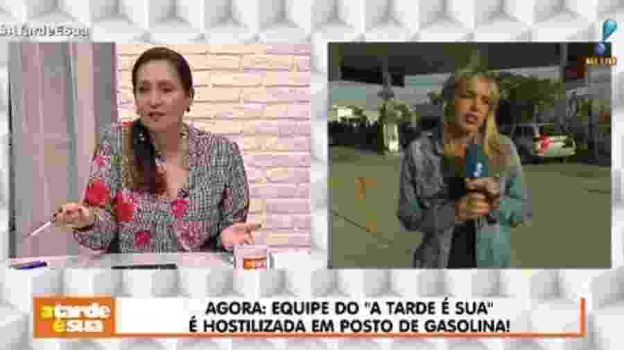 """Cintia Lima foi hostilizada ao vivo enquanto fazia uma matéria para o """"A Tarde é Sua"""" - Reprodução/RedeTV!"""
