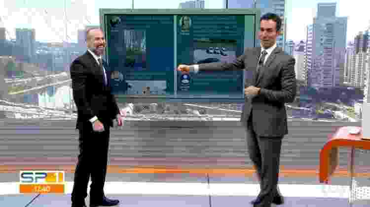 """César Tralli devolveu o toque do consultor de condomínio do """"SP1"""", Marcio Rachkorsky - Reprodução/TV Globo - Reprodução/TV Globo"""