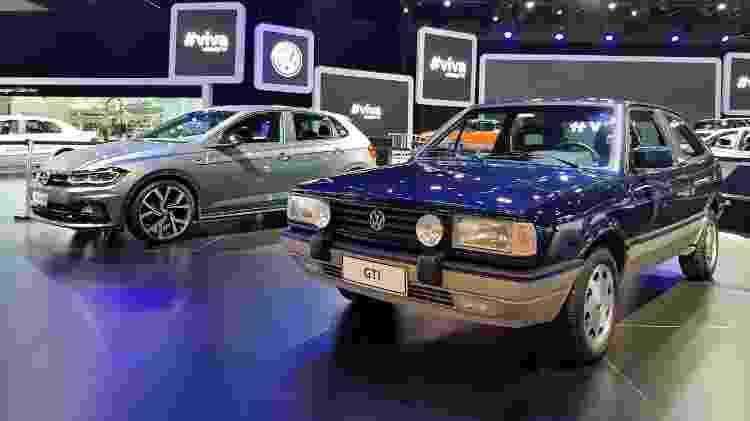Volkswagen Gol GTi ao lado do Polo GTS no Salão de São Paulo 2018 - Divulgação - Divulgação