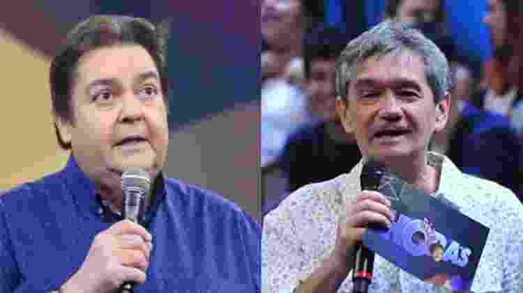 Fausto Silva e Serginho Groisman têm a mesma idade e são dois dos apresentadores mais antigos da Globo - Reprodução TV Globo/Montagem UOL - Reprodução TV Globo/Montagem UOL