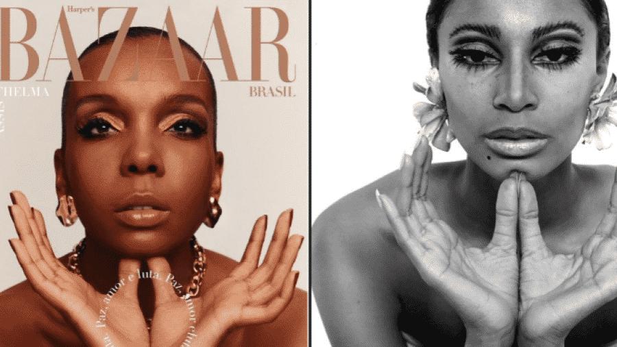 """Thelma Assis na capa da Harper""""s Bazaar (à esq.), em 2020; e Donyale Luna para a Vogue (à dir.) em 1966 - Reprodução/Twitter"""