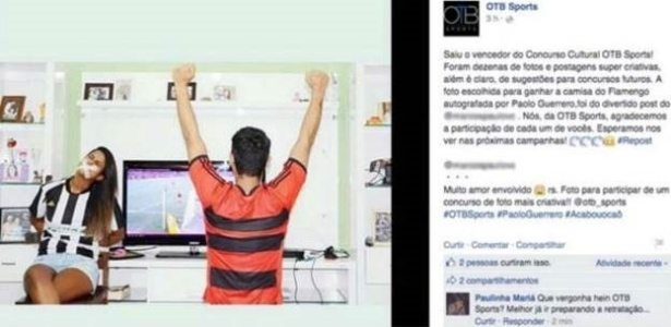 """Publicação inicial divulgou a premiação de imagem considerada """"divertida"""" por agência esportiva - Reprodução"""