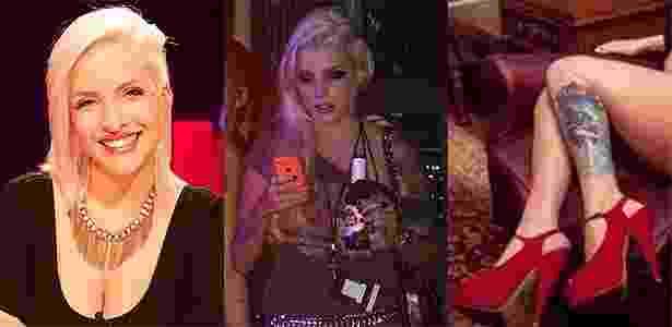 Clara já viu shows do backstage e tem a capa de um dos discos da banda tatuada na perna - Juliana Fumero/UOL, Felipe Souto Maior/AgNews e Luiza Prado/Reprodução/Facebook - Juliana Fumero/UOL, Felipe Souto Maior/AgNews e Luiza Prado/Reprodução/Facebook