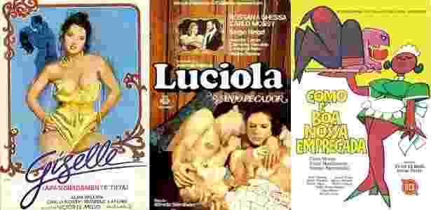 """Cartazes de """"Giselle"""", """"Lucíola, o Anjo Pecador"""" e """"Como É Boa Nossa Empregada"""", pornochanchadas com Carlo Mossy - Montagem/UOL - Montagem/UOL"""