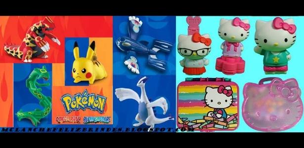 """Versão brasileira da promoção terá menos brinquedos do que a japonesa; tanto """"Pokémon"""" quanto """"Hello Kitty"""" terão cinco itens - Reprodução/Brindesmclanchefeliz.blogspot.com"""