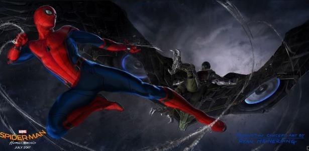 """Arte conceitual de """"Spider-Man: Homecoming"""", divulgada no Twitter do filme - Reprodução"""
