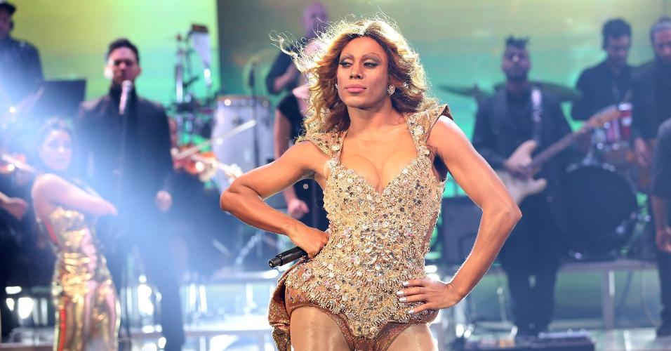 """Ícaro Silva como Beyoncé no Show dos Famosos, do """"Domingão do Faustão"""""""
