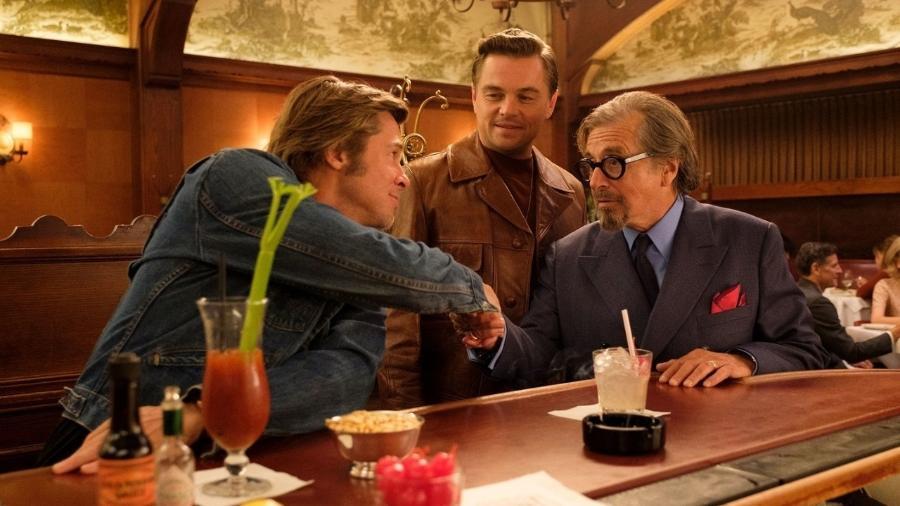"""Pitt, DiCaprio e Al Pacino em """"Era Uma Vez em Hollywood"""" - Divulgação/VF"""