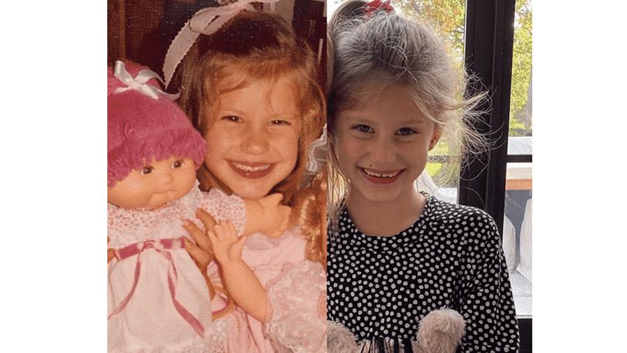 Gisele Bündchen em foto antiga, ainda criança, e a filha, Vivian - Reprodução/Instagram